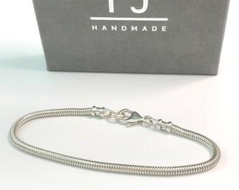 Mens Silver Bracelet, Solid 925 Sterling Silver 3mm Snake Link Chain, Handmade Gift, Custom Sizes