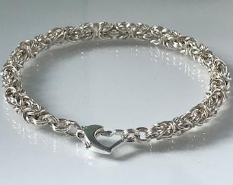 Sterling Silver Bracelets for Women, Silver Multi Link Chain, Charm Bracelet with Heart Clasp, Gift for Her, Custom Sizes, Handmade