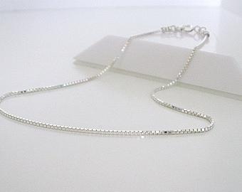 Sterling Silver Anklet for Women, Sparkling Box Chain Ankle Bracelet Anklet, UK Handmade Gift, Custom Sizes, Optional Heart Charm