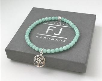 Sterling Silver Tree of Life Charm Bracelet for Women, Jade Beaded Intention Bracelets, UK Handmade Gift for Women, Custom Sizes, 4mm Beads