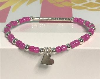 Sterling Silver Heart Charm Beaded Bracelet, UK Handmade Stretch Bead Bracelet Gift for Women, Custom Sizes, Choose Colour