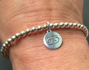 Sterling Silver Zodiac Charm Bracelet, Handmade Star Sign Horoscope Gift for Women, 4mm Beaded Stretch, Custom Sizes