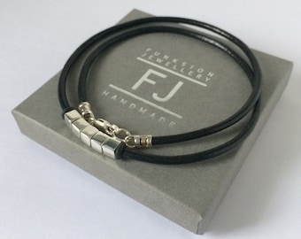 Mens Leather & Sterling Silver Necklace, Solid Silver Cube Beads on Black Thong, UK Handmade Gift for Him in Gift Box, Custom Sizes