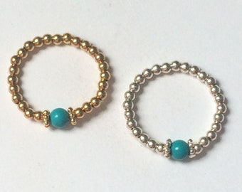 Sterling Silver Turquoise Ring, or Gold Filled Turquoise Ring, UK Handmade Stretch Beaded Gift for Women, Custom Sizes, Gift Boxed