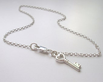 Sterling Silver Charm Anklet for Women, Key Charm Ankle Chain Bracelet, UK Handmade Love Gift for Her in Gift Box, Custom Sizes