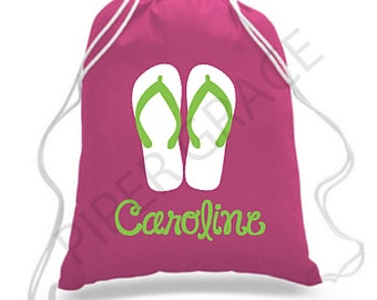Holiday Bag PERSONALISED Drawstring Bucket Spade Beach Flip flops Seaside Gift