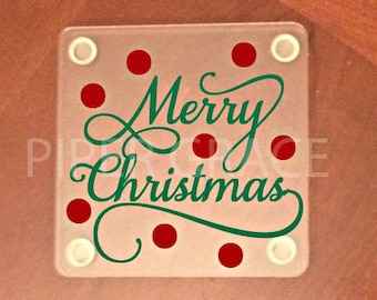 Christmas coasters, drink coasters, holiday coasters - Set of 4