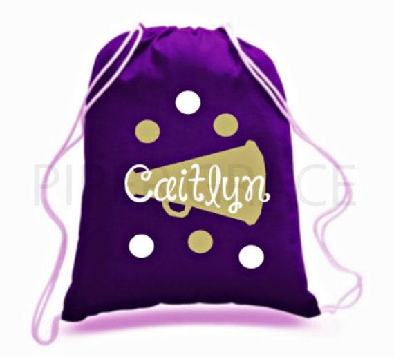 Personalized Cheerleader Drawstring Tote Bag