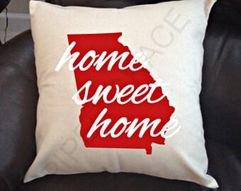 Georgia Home Sweet Home Pillow Cover, Georgia Pillow, Home Sweet Home Pillow, Home Pillow Cover