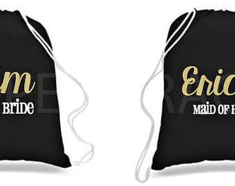 Bridal Party Drawstring Bag, Bachelorette Party Ideas, Bachelorette Party Favors, Bridesmaids Gift Ideas, Bridal Party Gifts