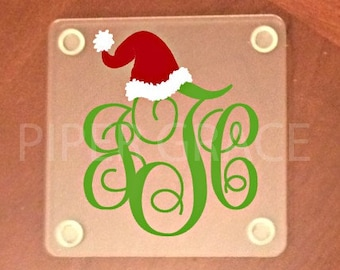 Christmas coasters, drink coasters, holiday coasters, monogrammed gifts - Set of 4