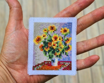 "Modern cross stitch pattern ""Tiny Claude Monet Sunflowers"". (P212) Miniature art cross stitch."
