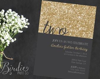 Golden Birthday Invitation
