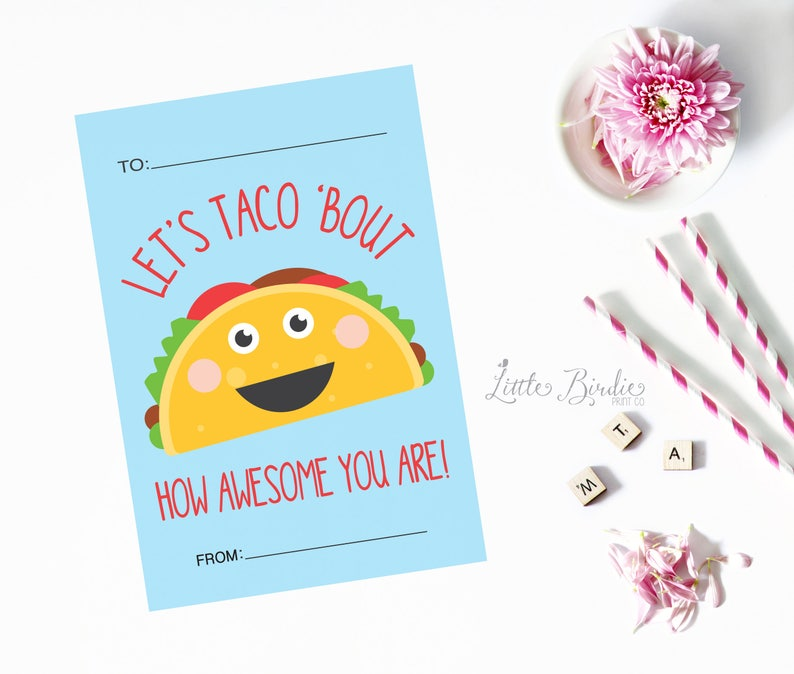 Classroom Valentine Treat bag Let/'s Taco Bout You Valentine Personalized Printable Kids Valentine Valentines Day