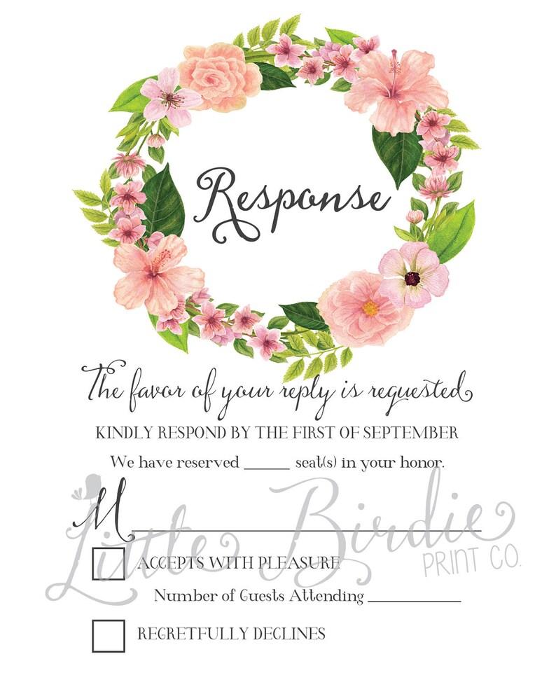Wedding Invite /& RSVP Digital Printable or Printed Cards Watercolor Flowers Wedding Invitation Suite