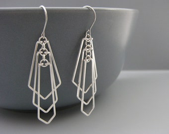 Architectural Earrings - silver art deco fan earrings, modern geometric jewelry, engineer or math teacher gift - Tiered Fan