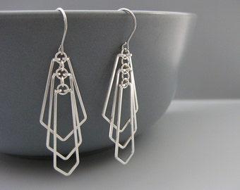Minimalist Geometric Earrings, Silver Art Deco Earrings, hypoallergenic math teacher jewelry, engineer gifts - Tiered Fan
