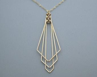 Art Deco Inspired Jewelry Filigree Pendant Necklace Art Deco Gift Wing Necklace Art Deco Necklace Art Deco Jewelry Fan Necklace