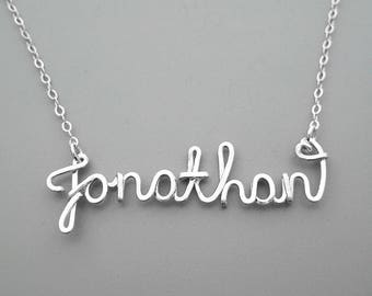 Name Heart Necklace - personalized cursive wire word with delicate sterling silver chain, anniversary jewelry gift for her