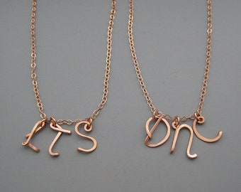 3 Initial Necklace - three rose gold filled uppercase cursive wire letter with delicate chain, personalized mother or grandma gift