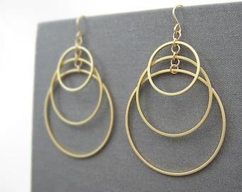 Gold Multi Hoop Earrings - Triple Circle Earrings, art deco wedding, architectural jewelry - Tiered