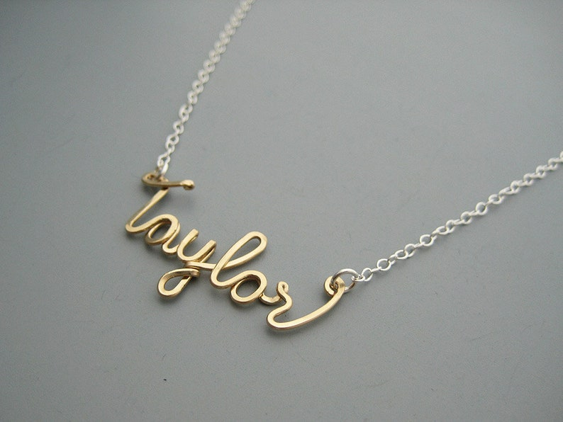 gold filled wire and delicate sterling chain Gold Name Necklace with Silver Chain modern minimal mixed metal personalized cursive word