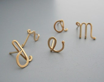 Initial Stud Earrings - gold filled personalized lowercase cursive letter post, nickel free jewelry, graphic designer gifts