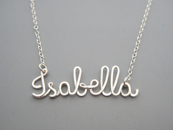 delicate gift for her Isabella Name Necklace Silver Name necklaces