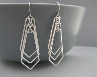 Chevron Earrings - silver geometric jewelry, gift for architect, engineer, math teacher - Cascading Arrow