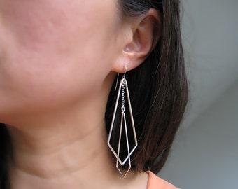 Art Deco Wedding Earrings - silver chevron, long geometric statement earrings, modern minimalist - Interlocking Arrows Up Large