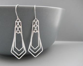 Architectural Earrings - modern minimal fan shaped geometric earrings, architect or math teacher gift, minimalist chevron - Tiered Kite