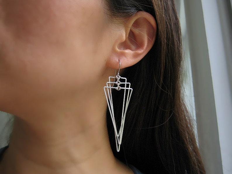 silver long geometric jewelry Tiered Isosceles wedding statement triangle fan Art Deco Earrings math teacher edgy earrings
