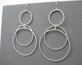 Silver Circle Earrings - Triple Hoop Earrings, Long Chain Link Work Jewelry - Sunrise