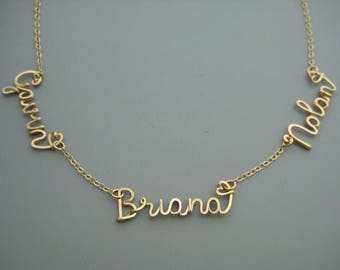 3 Name Necklace with Tiny Hearts - gold filled customized choker with three kids names for mom of triplets