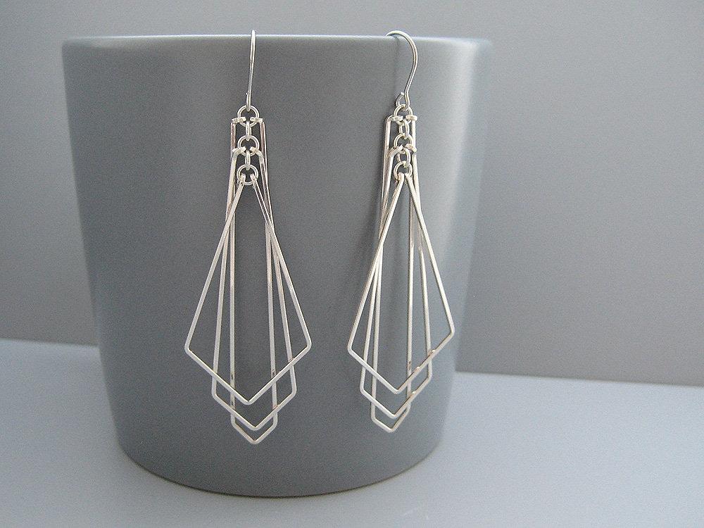 Art Deco Earrings Dangle Earrings Black Pave Earrings Vintage Earrings Boho Earrings Statement Earrings Gift for Her Bridal Earrings
