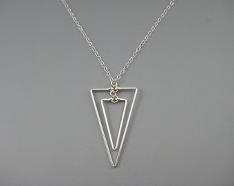 Silver Triangle Necklace - geometric pendant on delicate chain, minimalist architectural jewelry - Linked Down