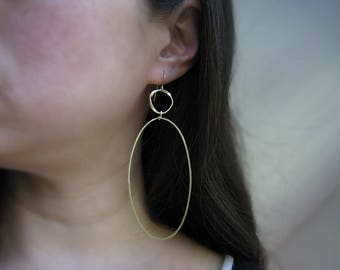 Gold Oval Earrings - circle and large ellipse minimalist statement jewelry