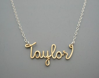 Gold Name Necklace with Silver Chain - mixed metal personalized cursive word, gold filled wire and delicate sterling chain, modern minimal