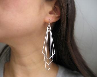 Edgy Earrings - extra long silver art deco fan, modern minimalist statement jewelry - Tiered Arrow Large