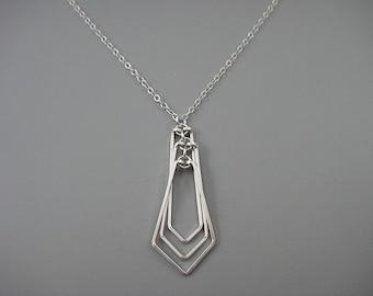 Silver Geometric Necklace - minimalist art deco jewelry, engineer or math teacher gift - Tiered Kite