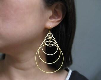 Modern Statement Earrings - gold art deco multi hoop earrings, minimalist circle jewelry - Tiered 5