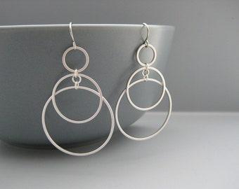 Silver 3 Circle Earrings - Multiple Hoop Earrings, Chain Link Office Jewelry - Sunrise (Small)
