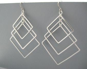 Silver Square Earrings - art deco wedding earrings, minimalist statement jewelry, engineer gifts - Tiered