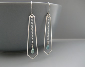 Chevron Earrings with Dainty Blue Apatite Teardrop - silver geometric triangle, Christian jewelry, spiritual gift