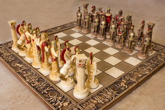 Ceramic Handmade Chess Set Greek Gods Of Olympus Etsy