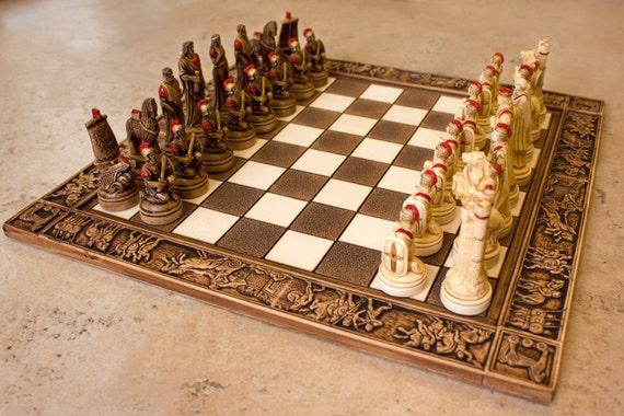Ceramic Handmade Chess Set Trojan War Etsy
