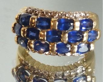 14K Solid Yellow Gold Ceylon Sapphire and Diamond Ring Retro Vintage