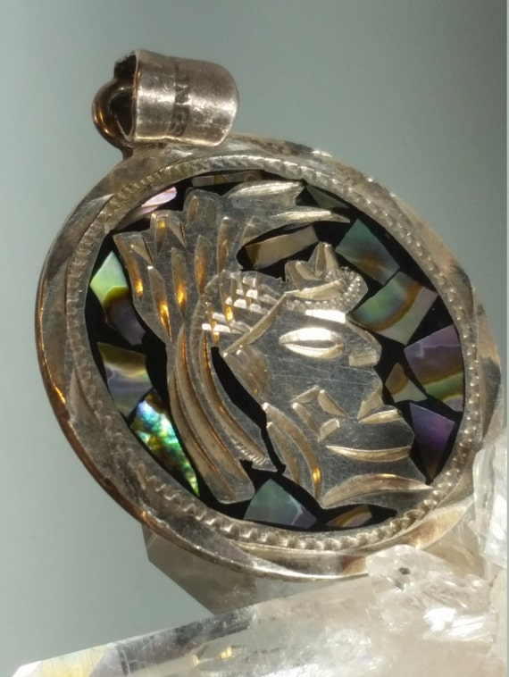 Sterling Silver Mexican Aztec Abalone Pendant Char