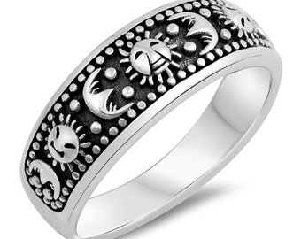 Personalized Tungsten Ring Sun Moon and Stars Anniversary Rings TCR231