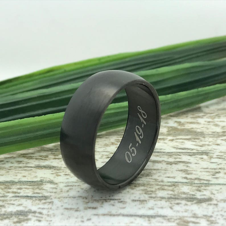 Roman Numeral Ring 8mm Black Tungsten Ring Coordinates Ring Engraved Wedding Date Ring Initial Ring for Her Custom Promise Ring for Him